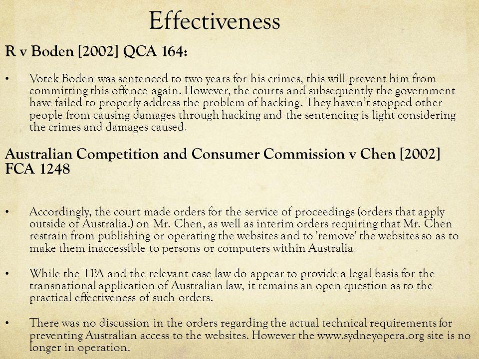 Effectiveness R v Boden [2002] QCA 164: